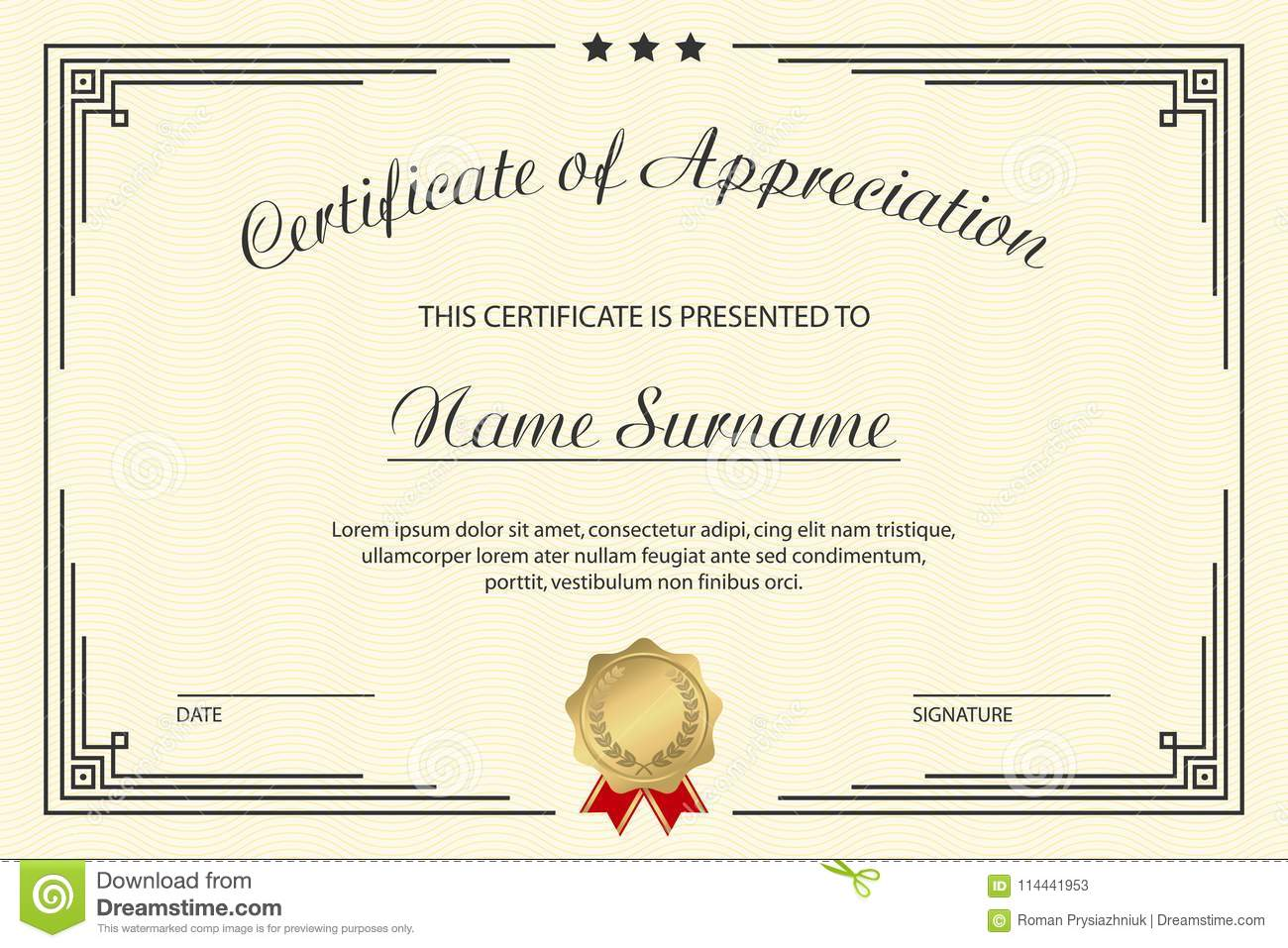 certificate of appreciation template elegant design for vintage