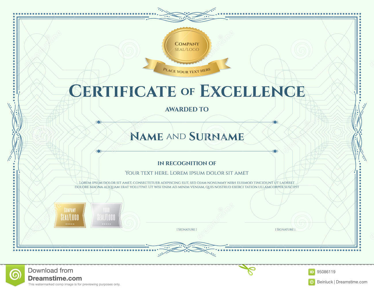 Certificate of appreciation template with gold award ribbon on a royalty free vector download certificate yelopaper Image collections