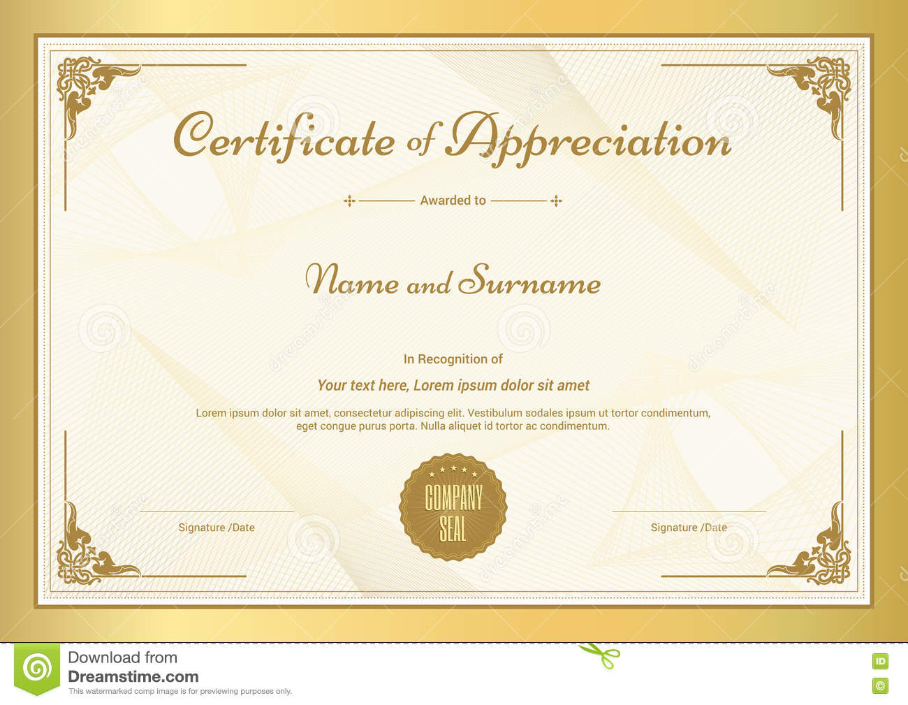 Certificate of appreciation template with gold border for Length of service certificate template