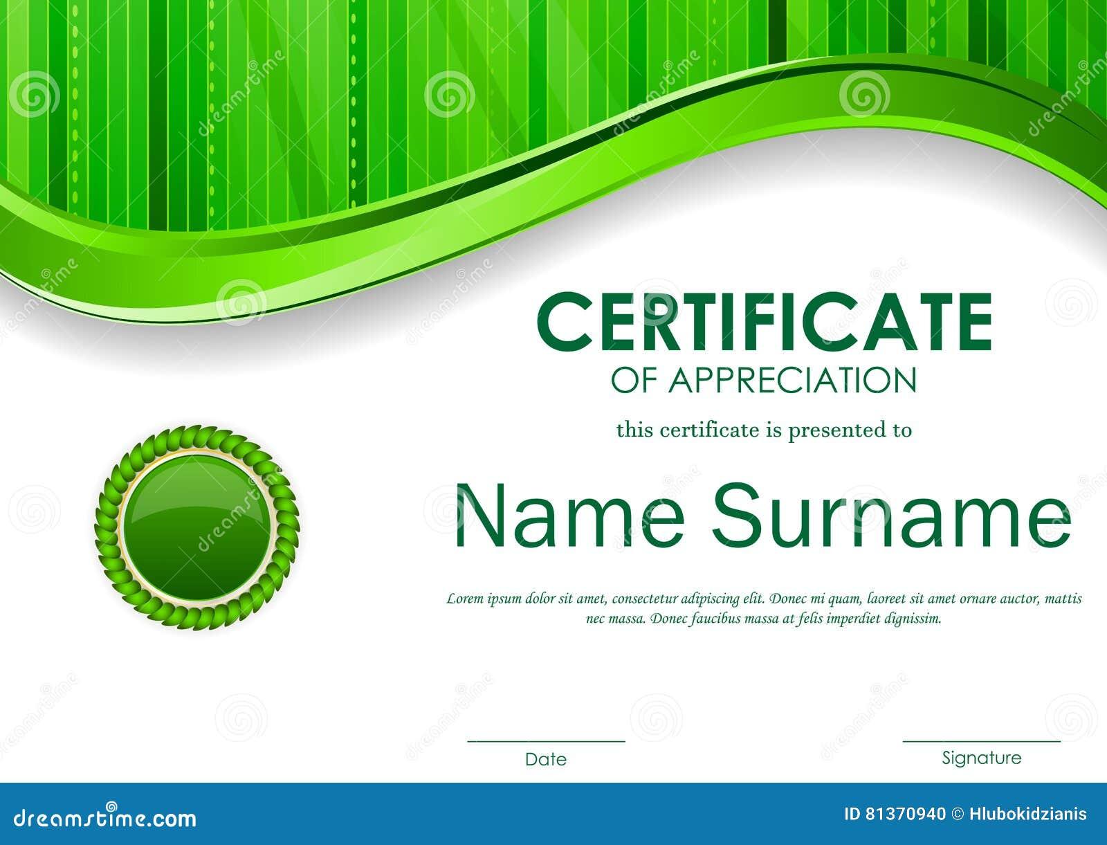 Certificate Of Appreciation Template Stock Vector Image