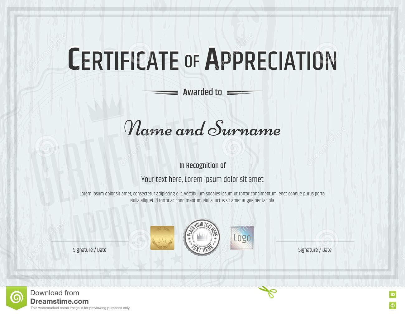 Certificate of appreciation template with grey wooden background certificate of appreciation template with grey wooden background stock vector illustration of elements grey 71867912 yelopaper Choice Image