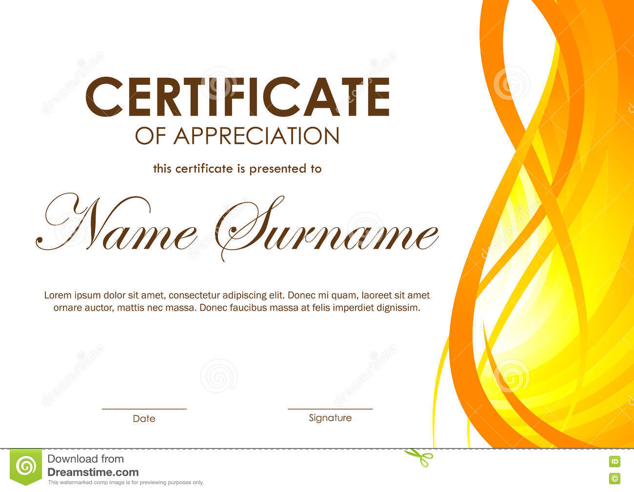 Certificate Of Appreciation Template Stock Vector