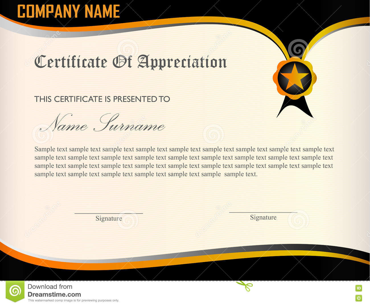 certificate appreciation template stock vector - image: 74767909, Modern powerpoint