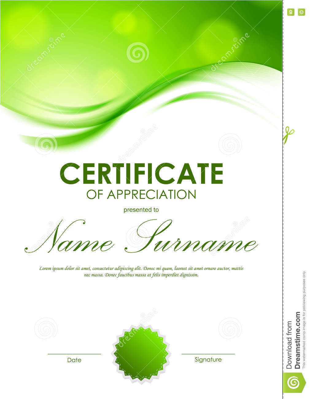 Certificate Appreciation Template Stock Vector