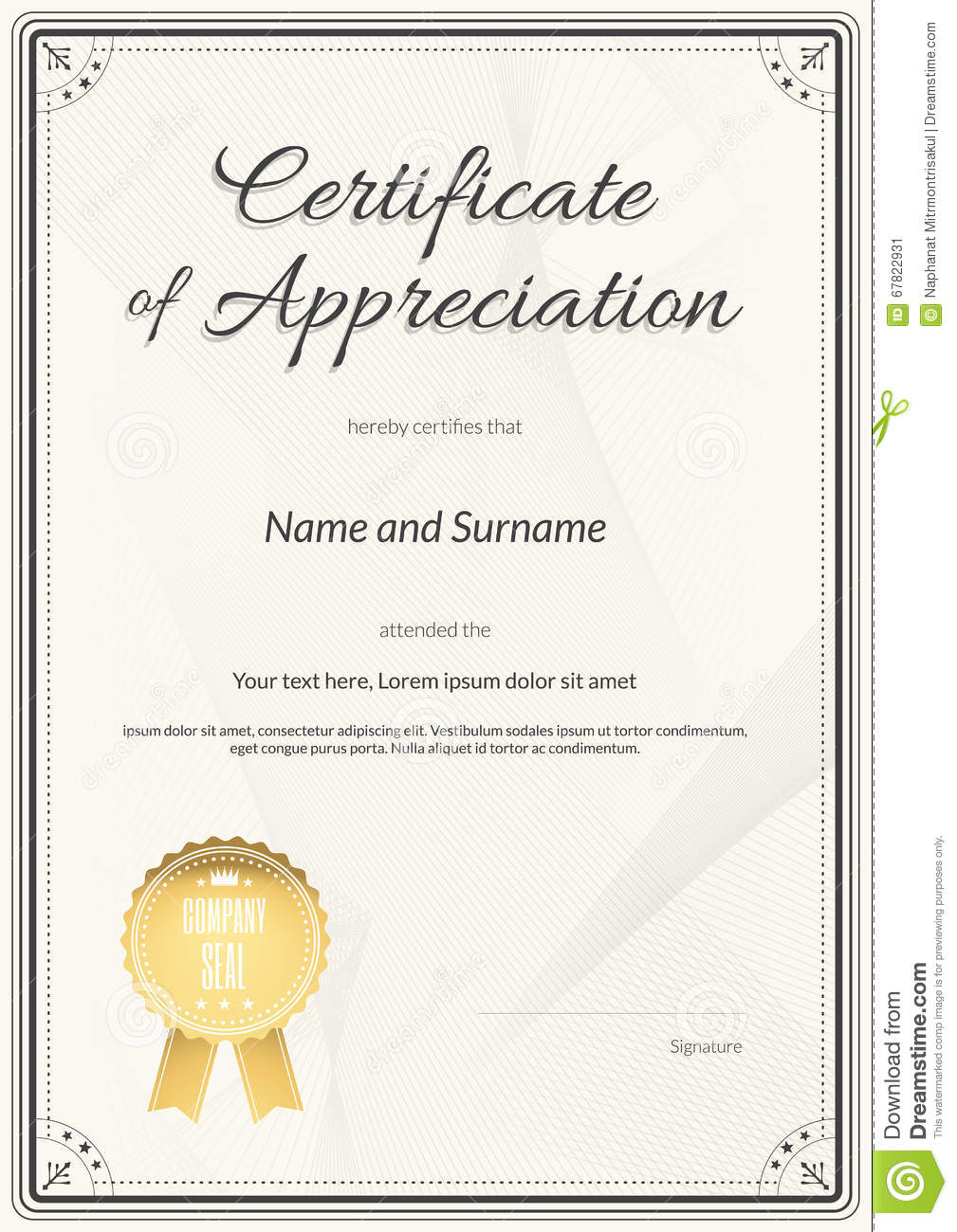 Certificate of appreciation template in vector stock vector certificate of appreciation template in vector yelopaper Choice Image