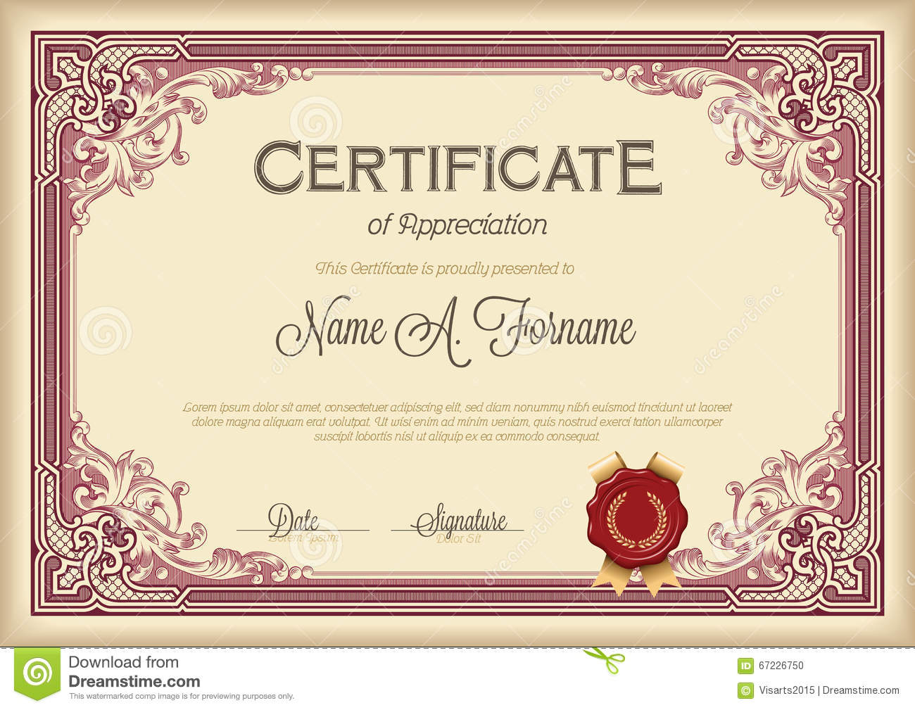 Certificate Of Appreciation Vintage Floral Frame. Stock Vector ...