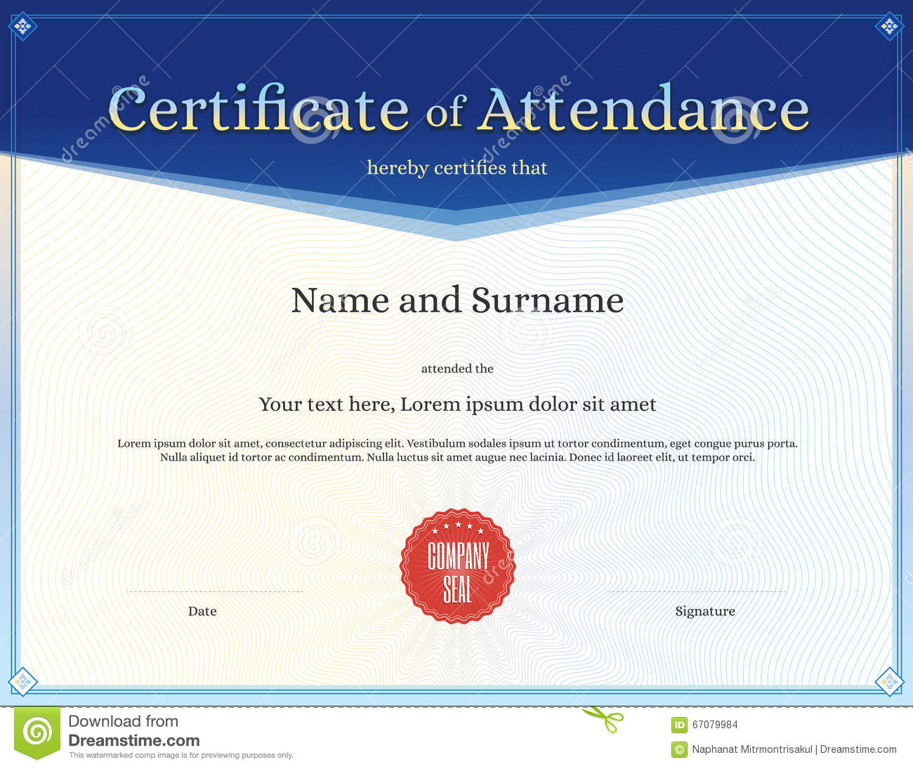 Certificate Of Attendance Template In Vector  Attendance Certificates Free Templates