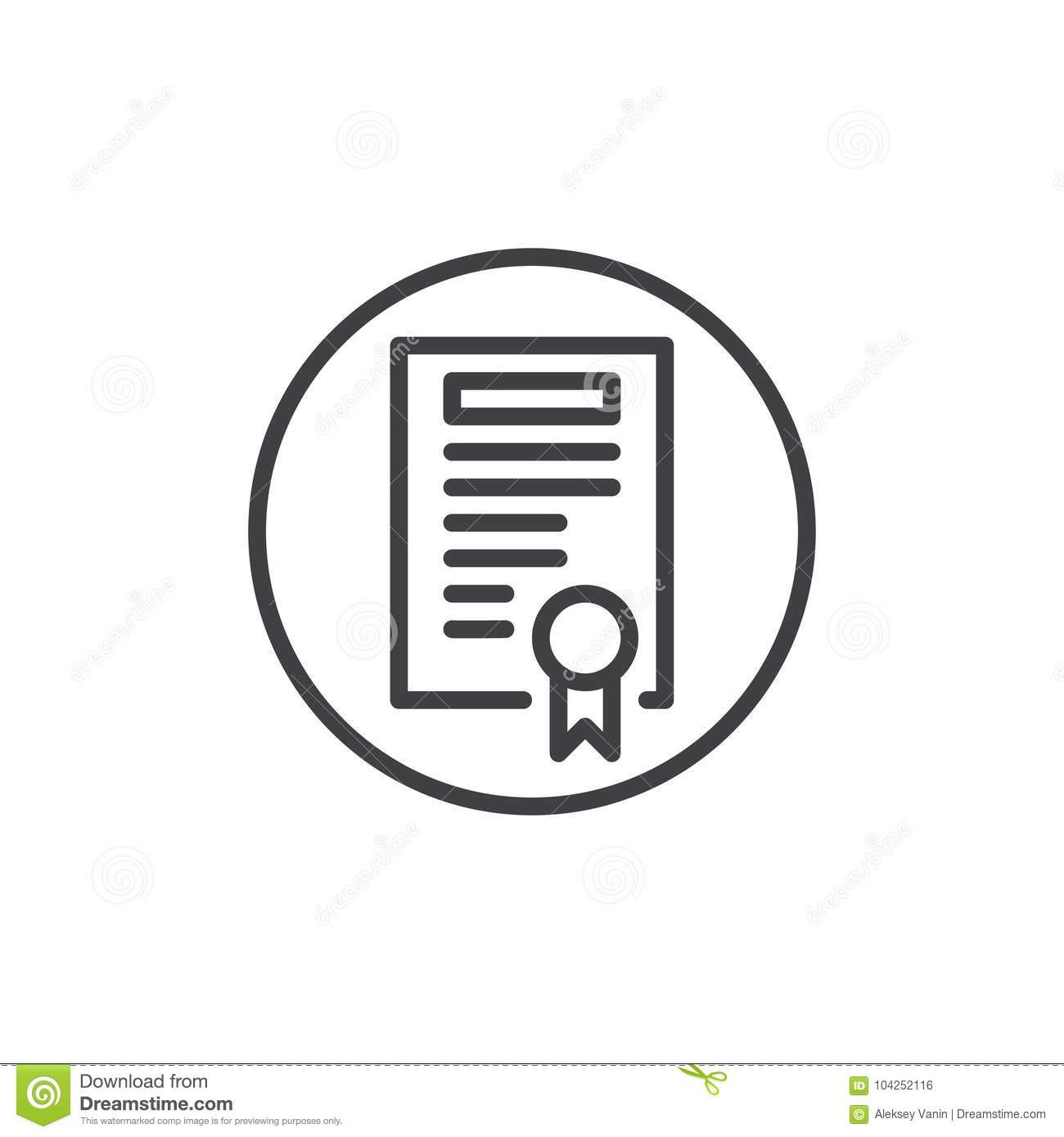 Certificate With Badge Line Icon Stock Vector Illustration Of