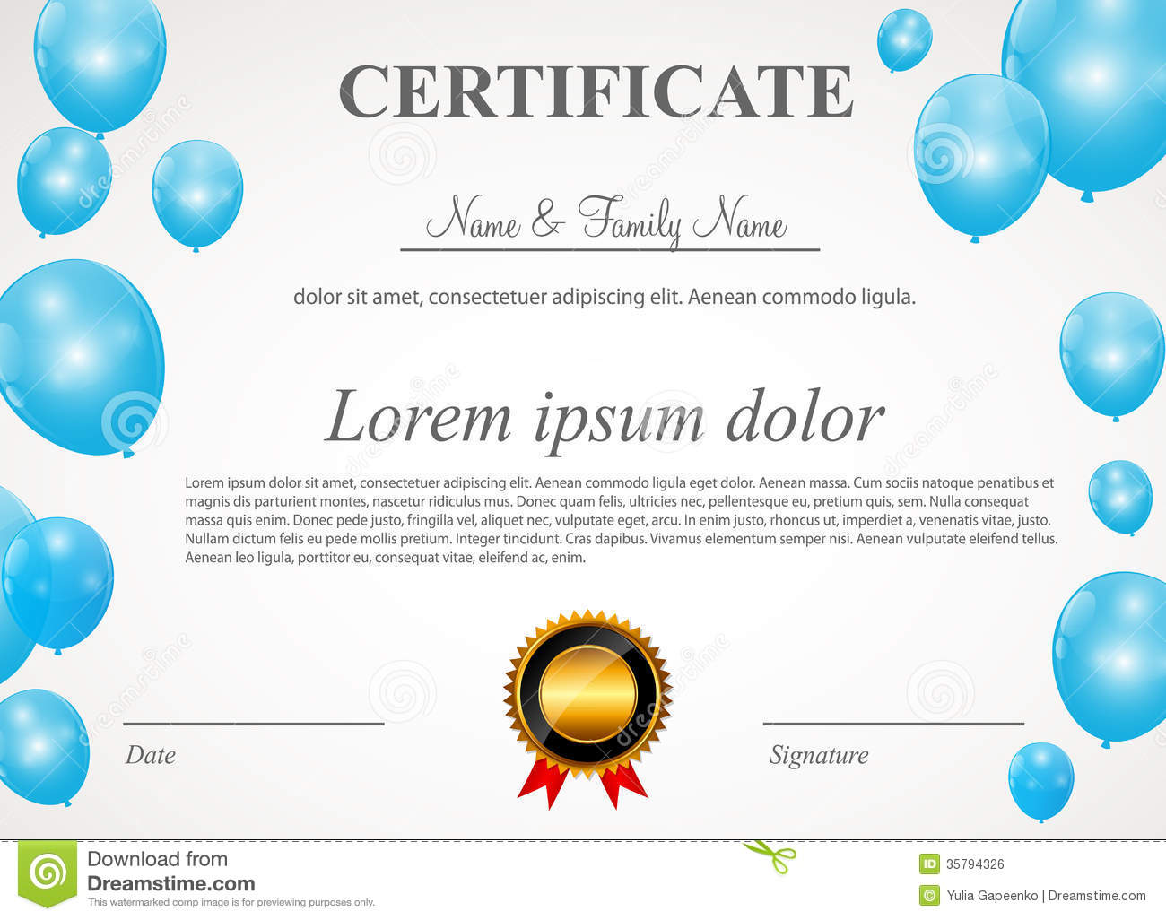 certificate with balloons template vector stock photo image
