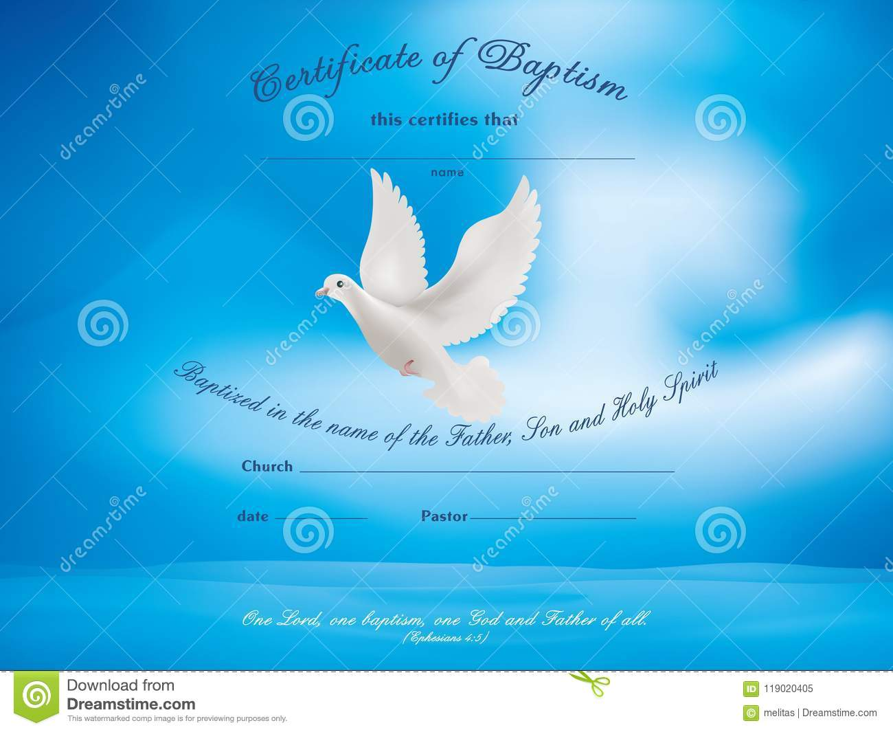 certificate baptism template with dove