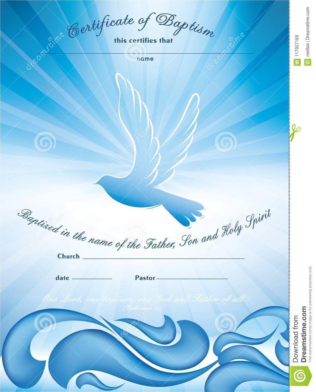 Certificate Baptism Template With Waves Of Water And Dove Multiple
