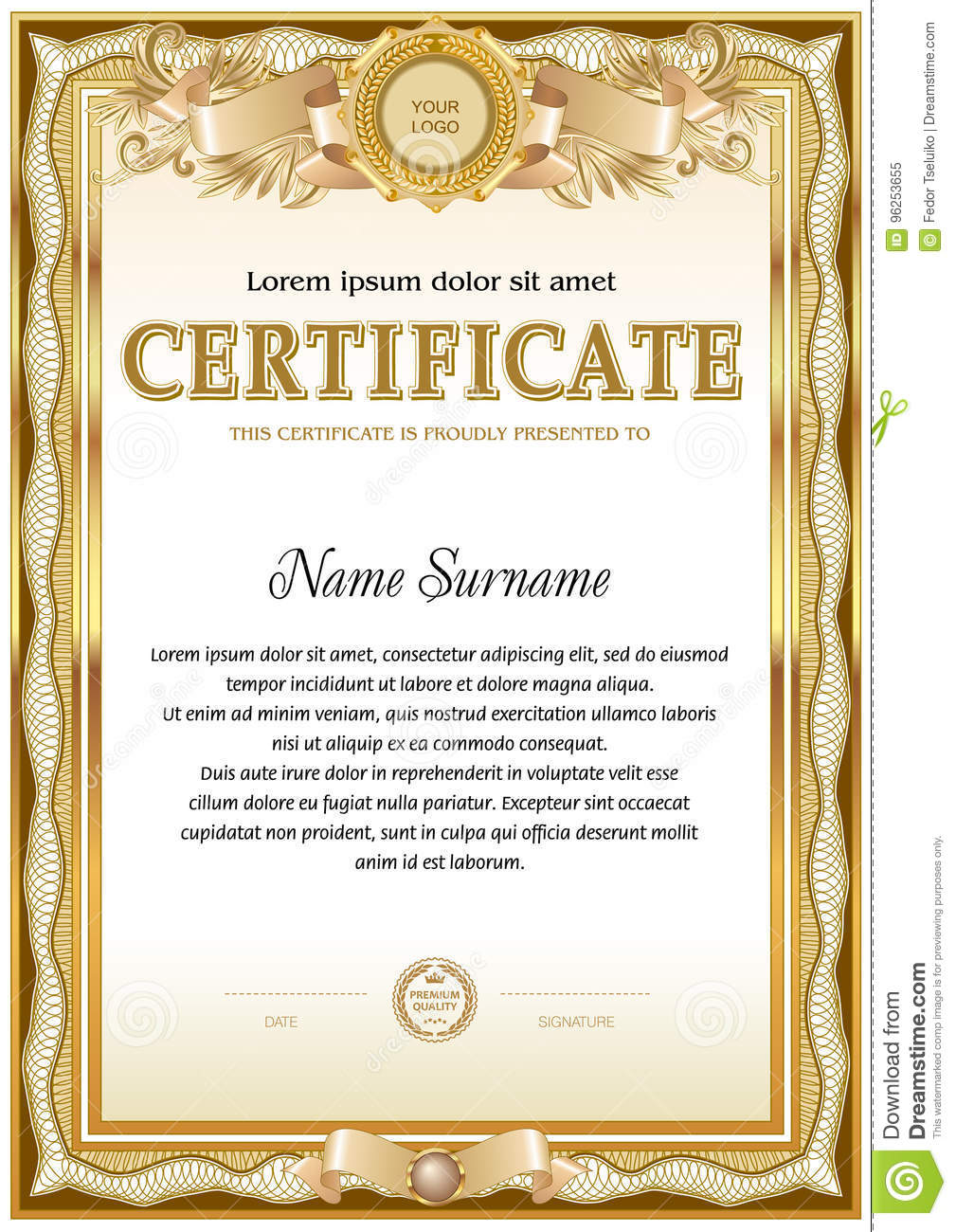 certificate blank template  vintage design  monochrome