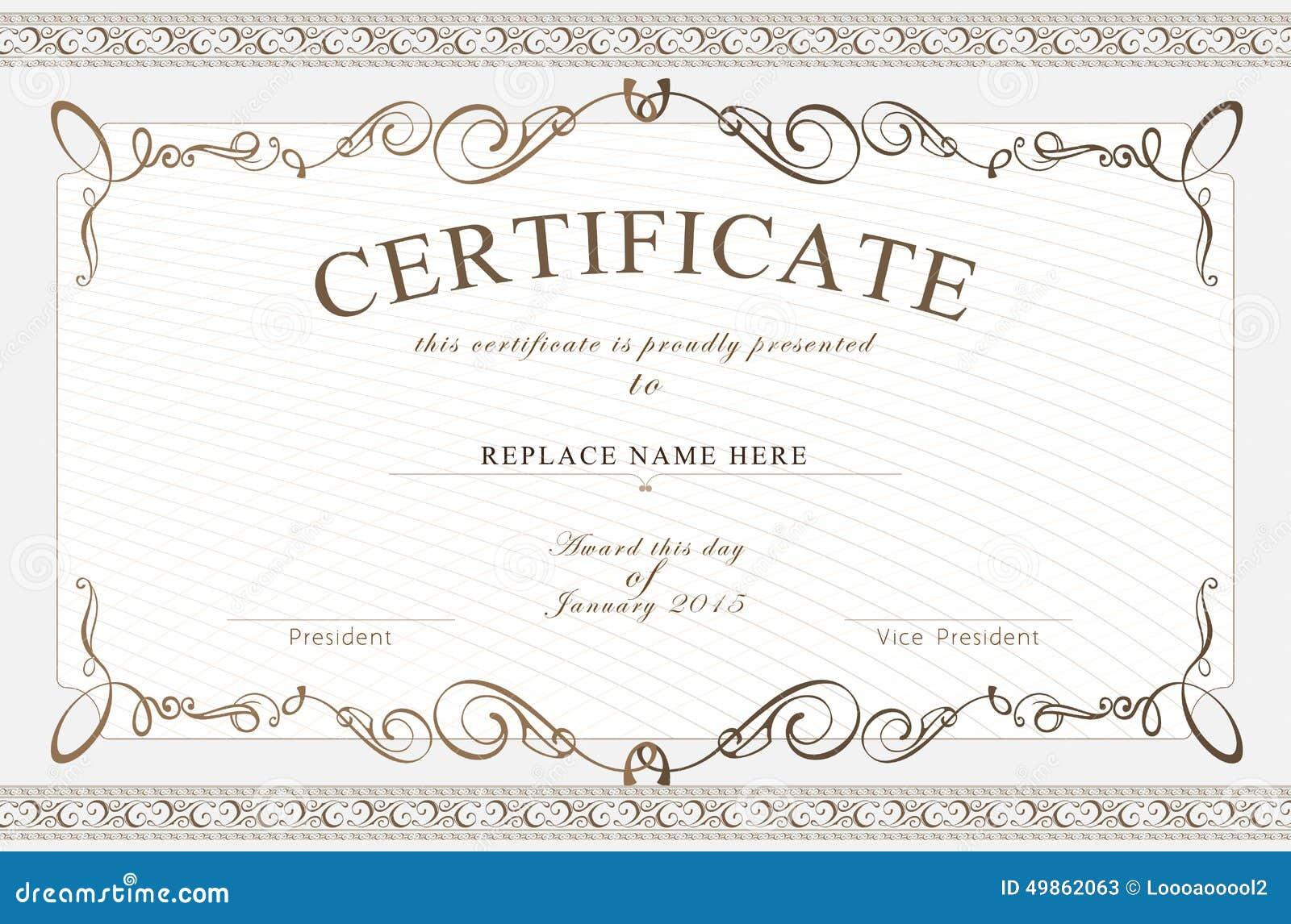 Certificate border certificate template vector illustration stock vector image 49862063 for Vector certificate