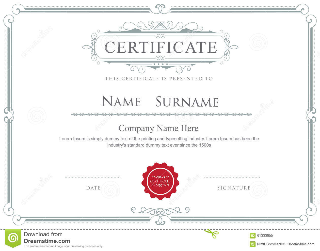 certification document template - certificate border vector elegant flourishes template