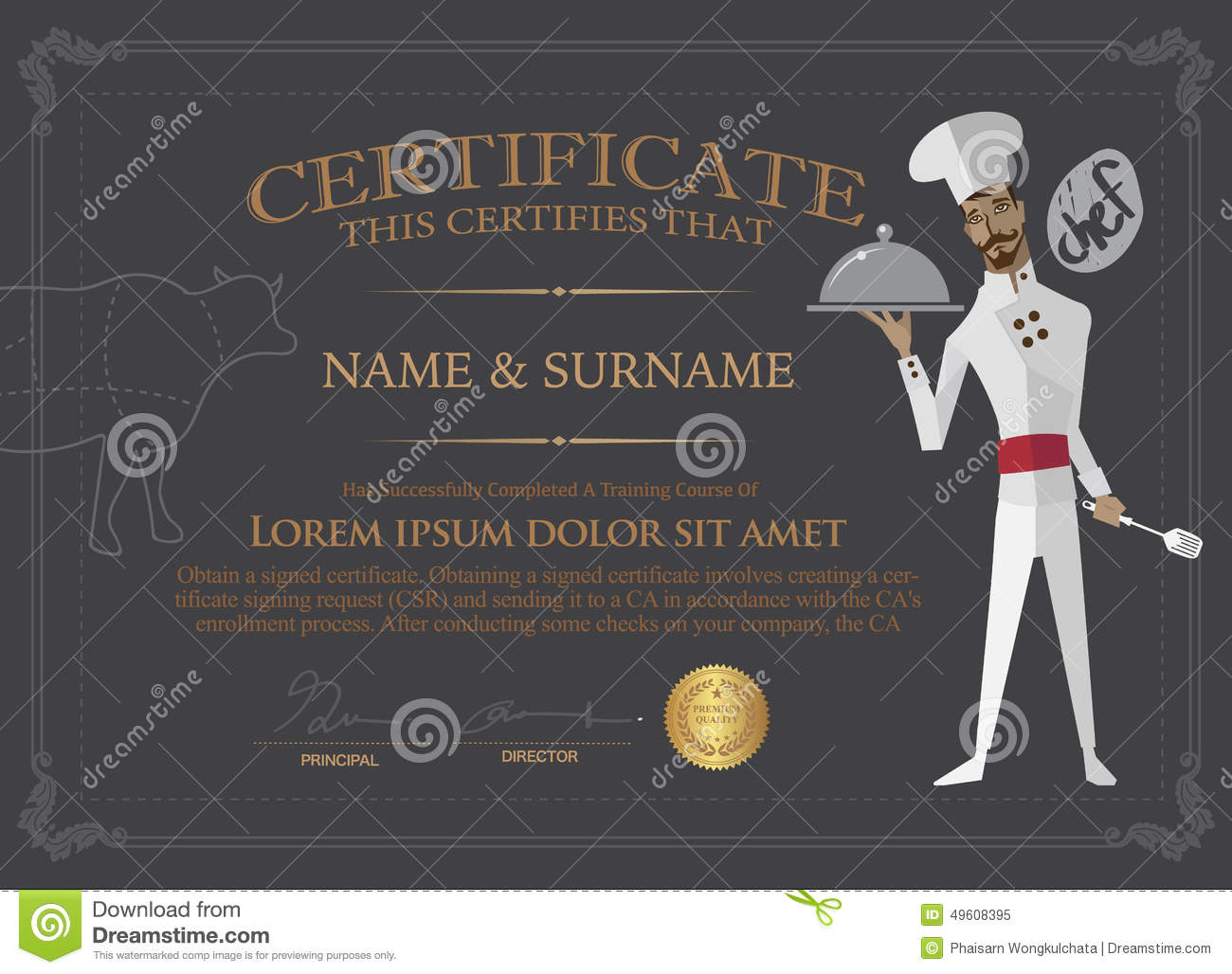 Certificate For Chef Design Template.People Who Completed The Co Royalty  Free Stock Photo  Chef Templates