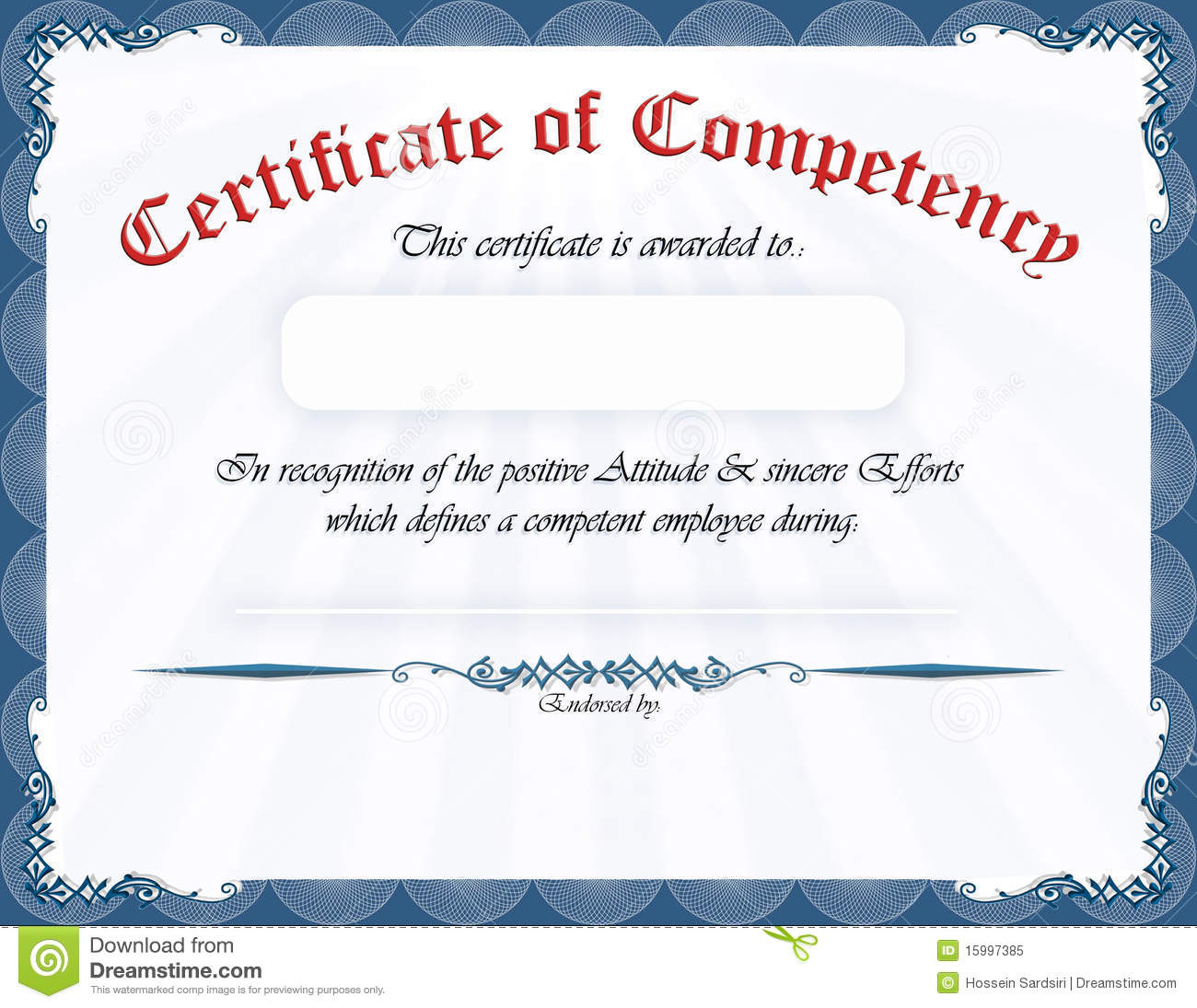 competency certificate template - certificate of competency stock illustration illustration