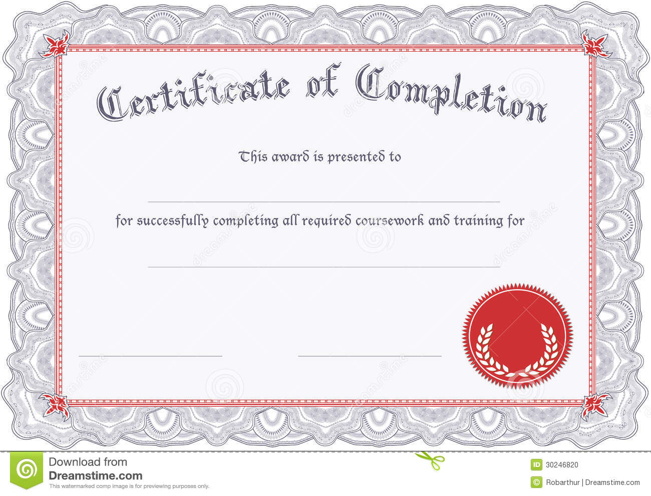 Certificate Of Completion Stock Photo Image 30246820