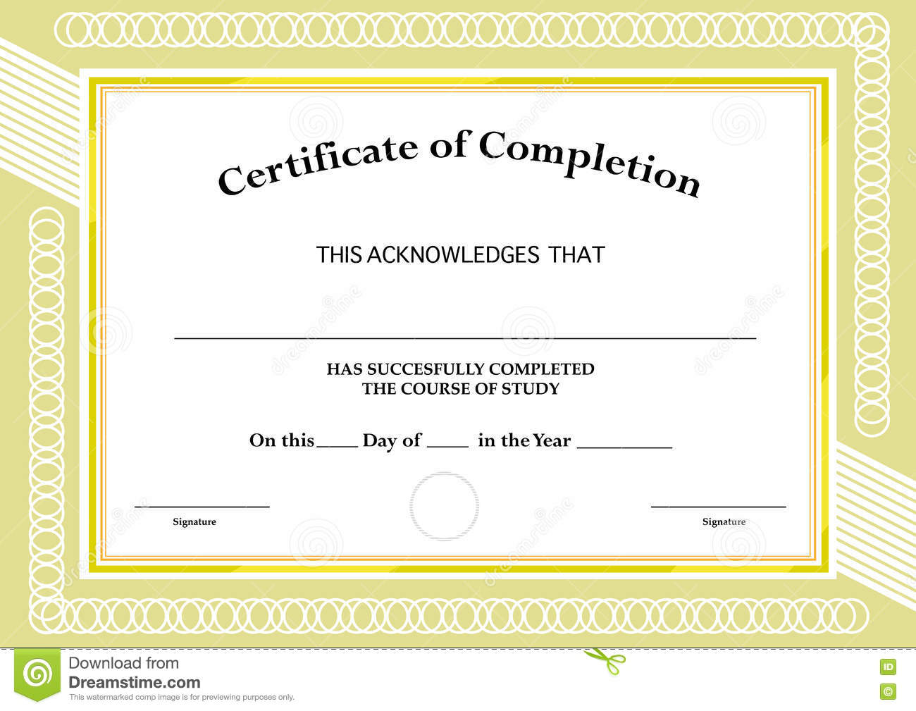 Certificate Of Completion Classic Frame And Visual Design – Blank Certificate of Attendance