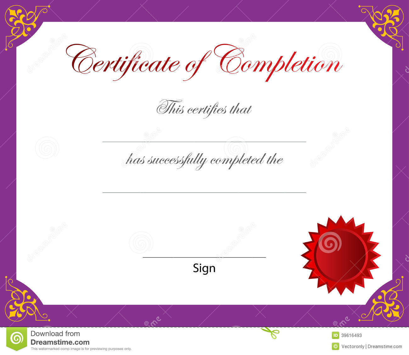 Certificate Of Completion Stock Vector - Image: 39616493