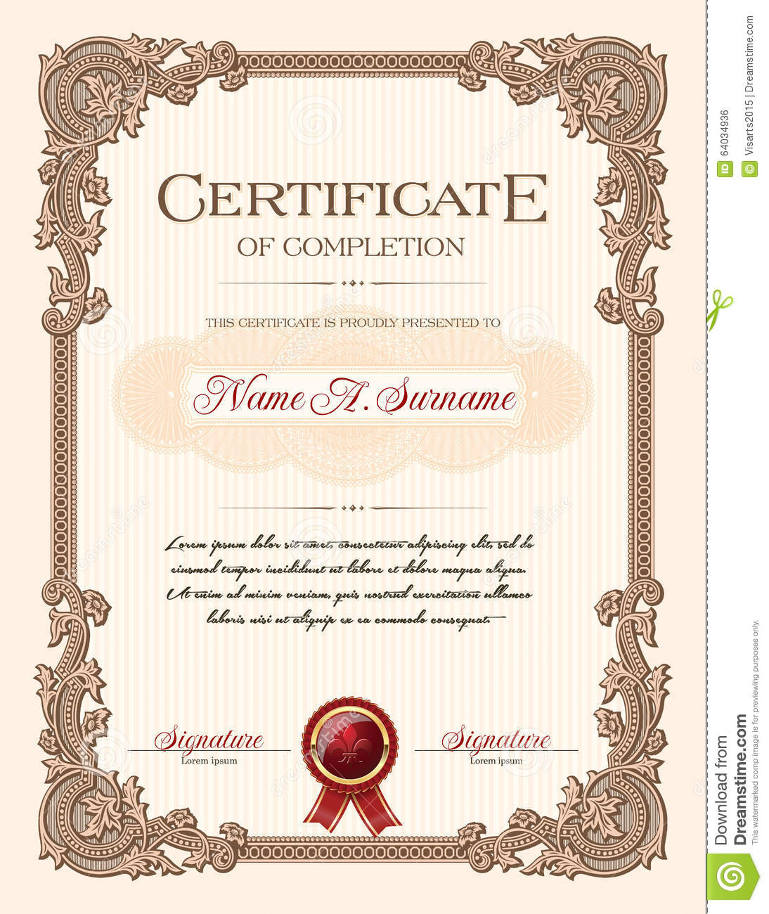 Certificate Of Completion Portrait With Floral Ornament ...