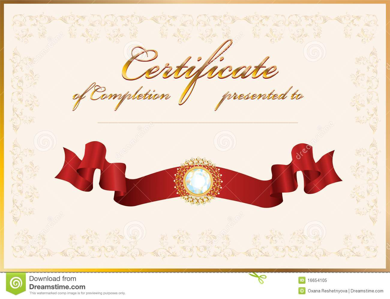 Certificate of achievement template with gold border theme stock.