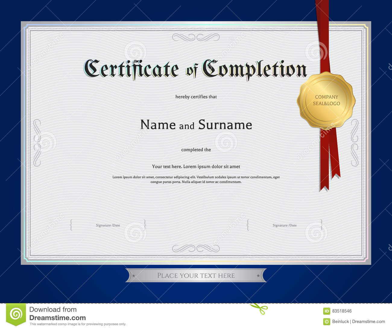 Certificate Of Completion Template With Blue Border Stock Vector Certificate  Completion Template Blue Border Red Award  Certificates Of Completion Templates