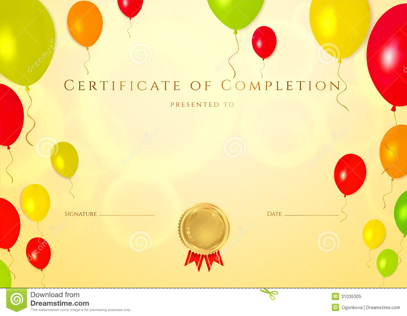 Certificate Of Completion Template For Children Royalty