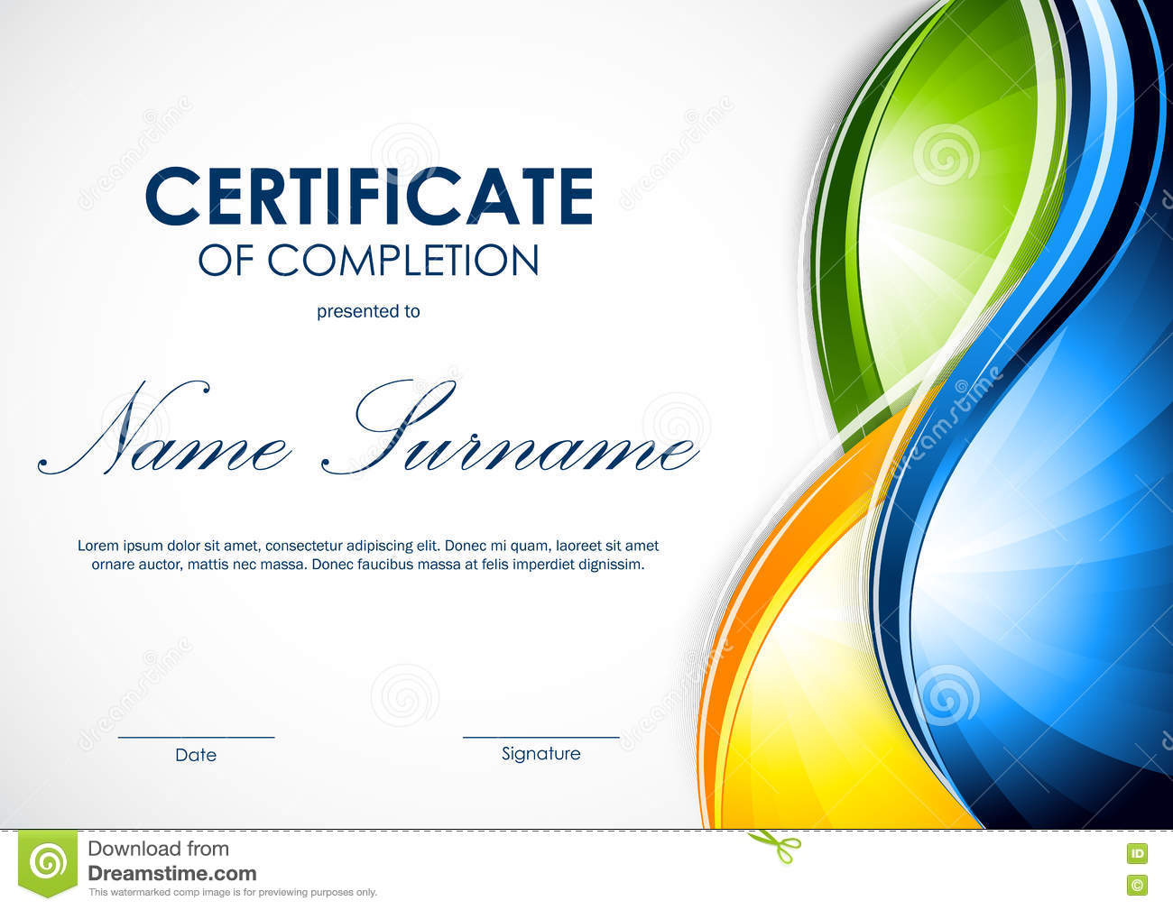 Certificate Of Completion Template Stock Vector ...