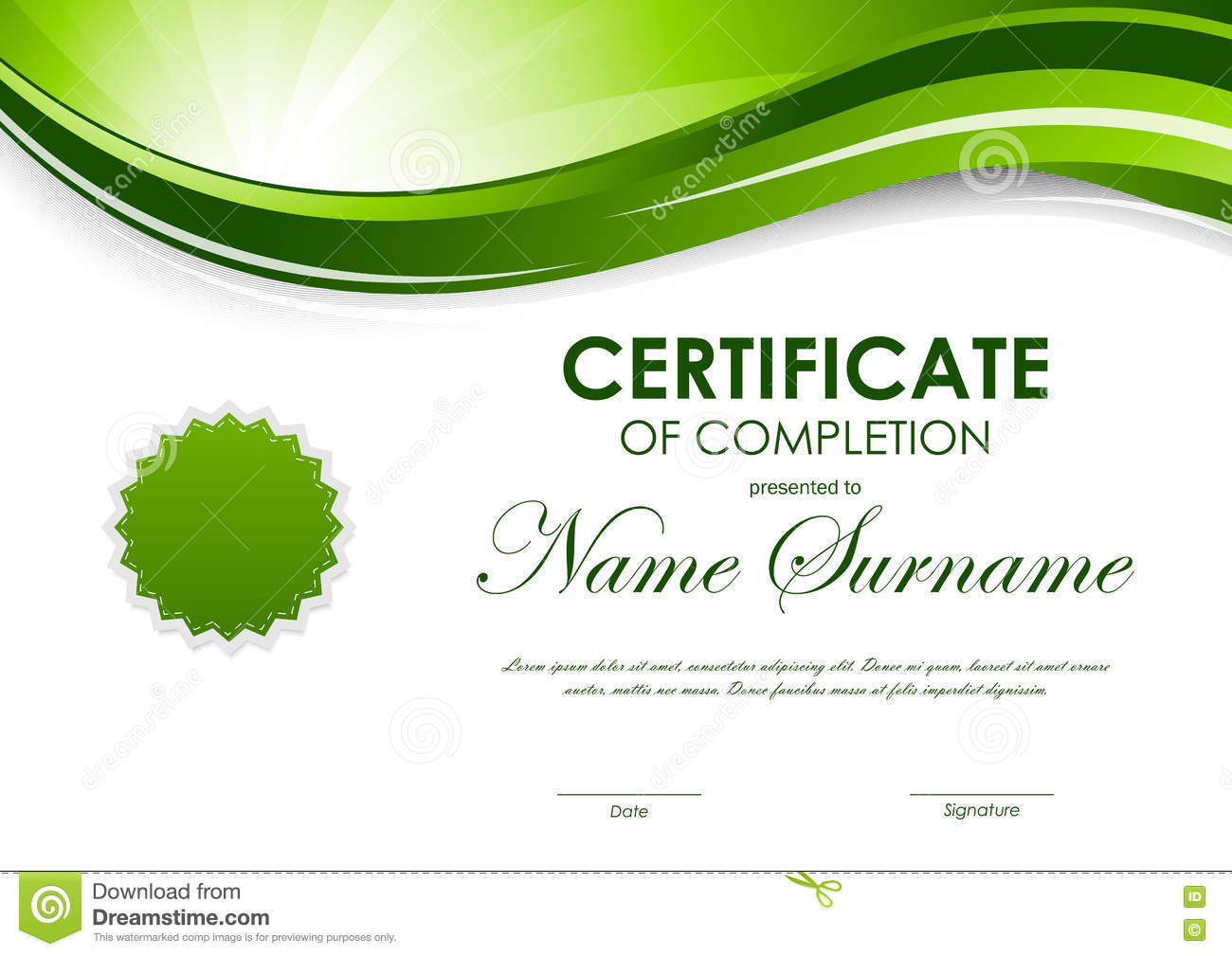 Certificate of completion template stock vector image 82044691 royalty free vector download certificate of completion template yadclub Gallery