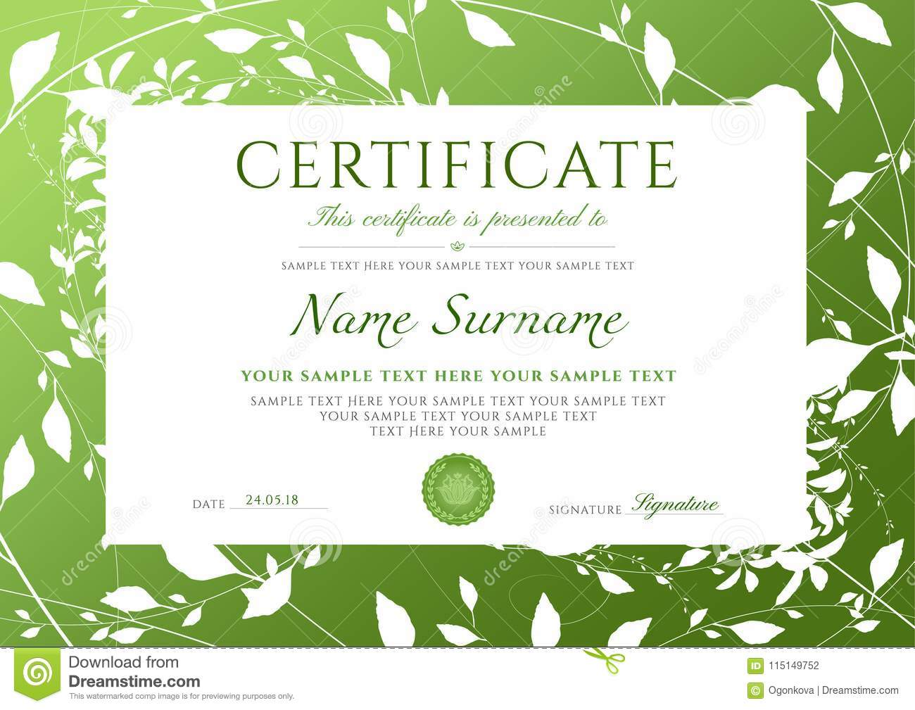 Certificate Of Completion Template With Green Floral ...