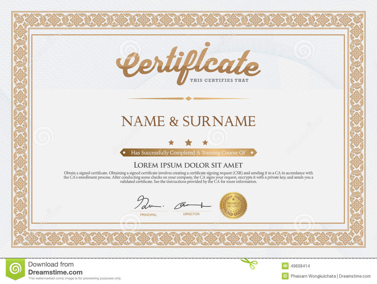 Certificate Of Completion Template Stock Vector - Illustration of ...