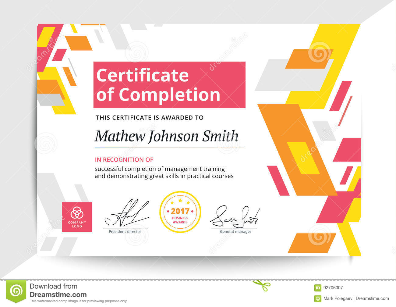 Certificate Of Completion Template In Modern Design Business Di Stock Vector Illustration Of