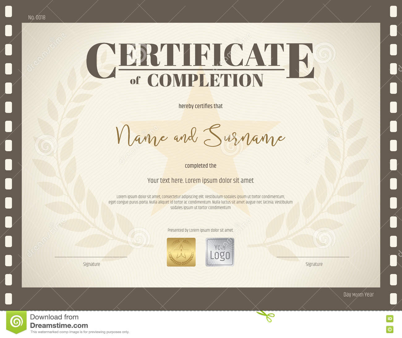 Certificate Of Completion Template In Movie Theme Stock ...
