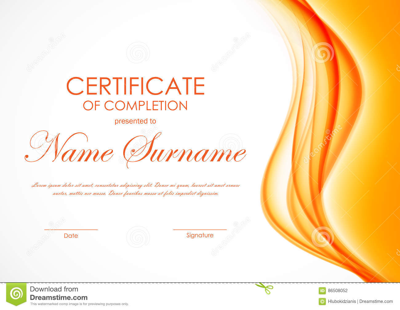 Certificate of completion template stock vector image 86508052 certificate of completion template yadclub Images