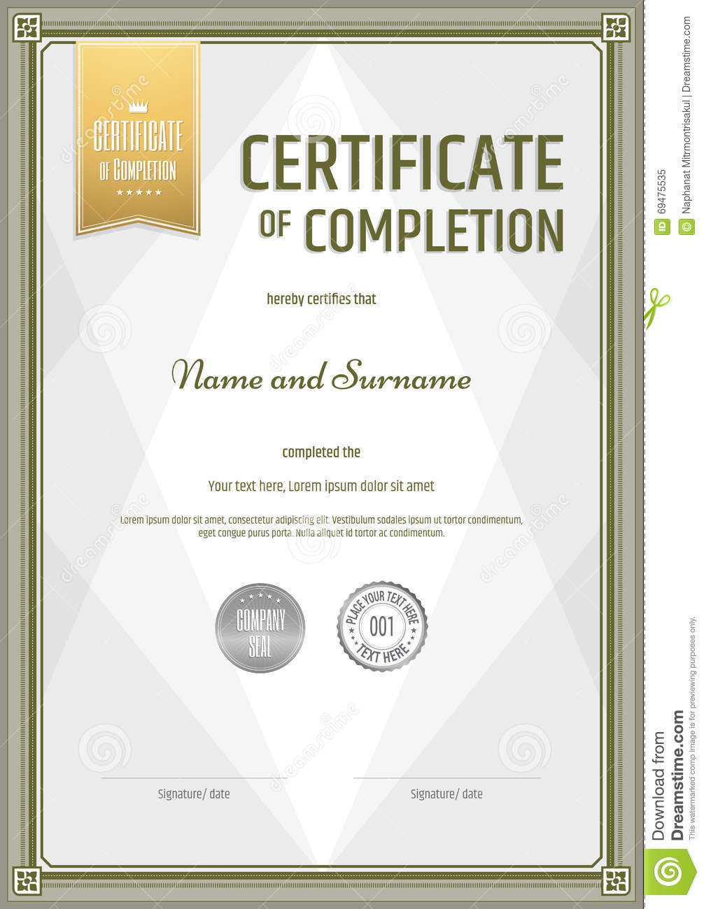 Certificate Of Completion Template In Portrait Stock