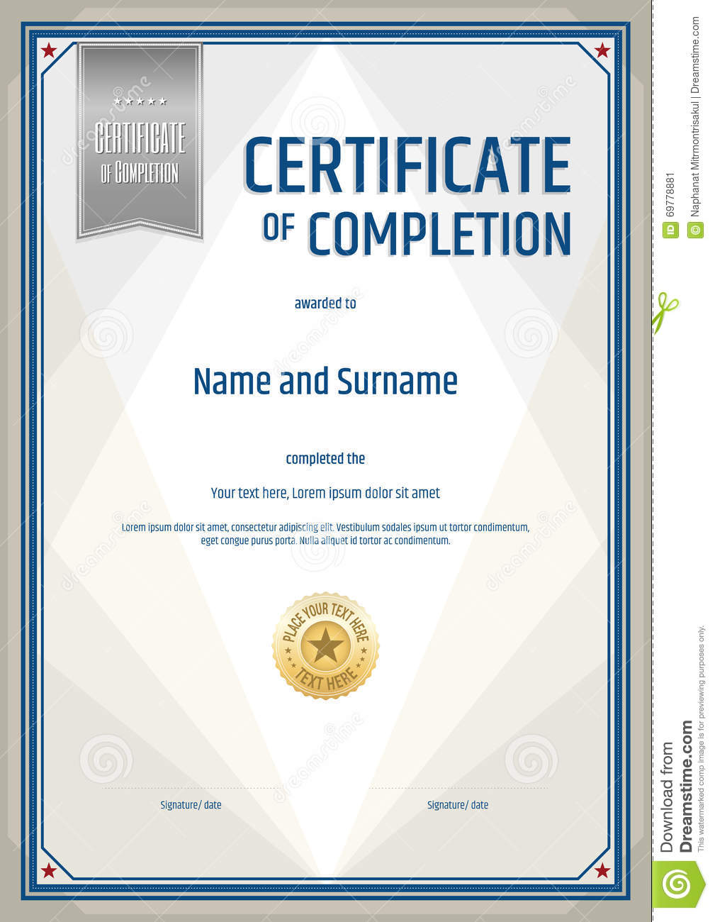 Certificate Of Completion Template In Portrait Stock ...
