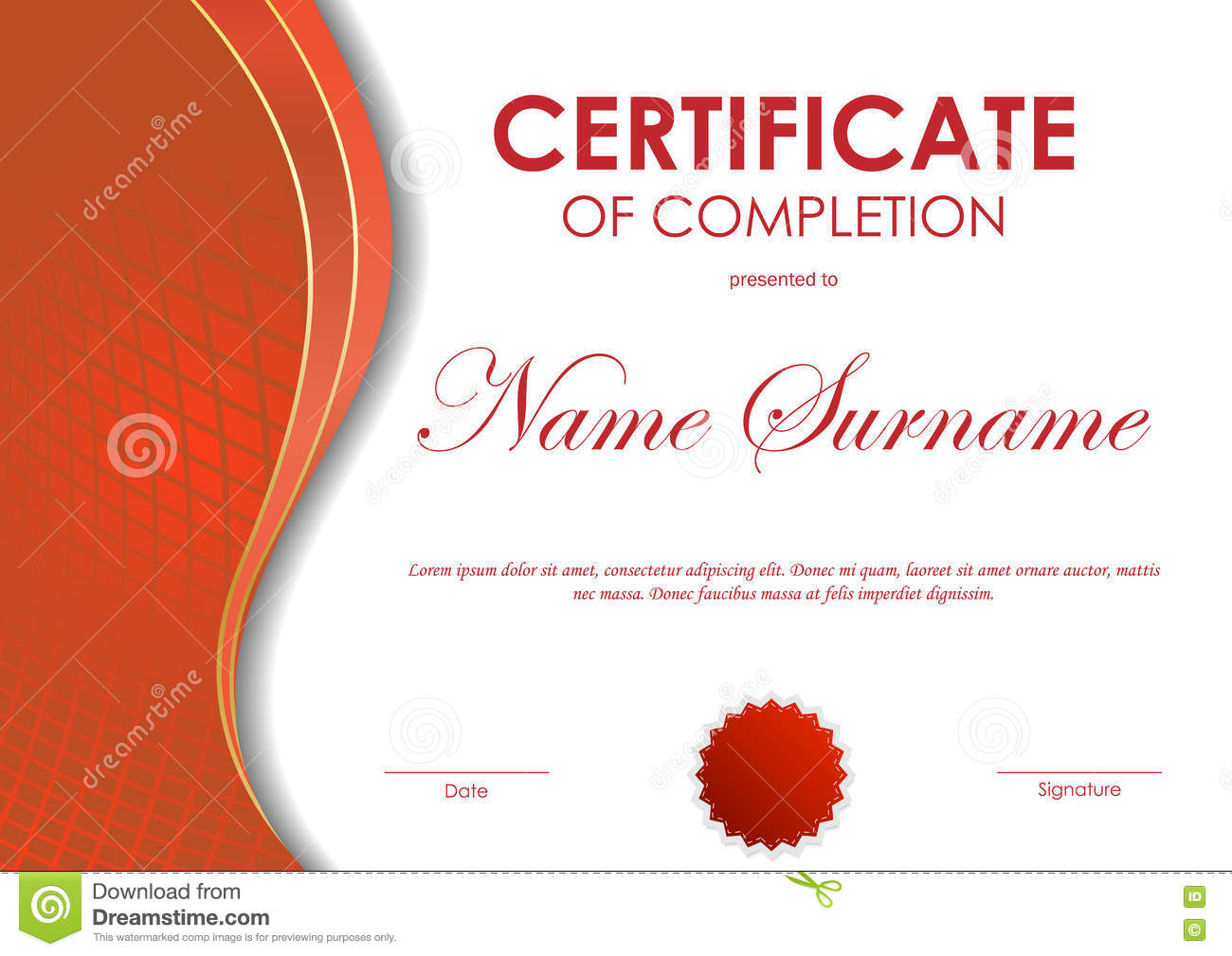 Certificate Of Completion Template. Royalty Free Vector  Certificate Of Completion Template Free