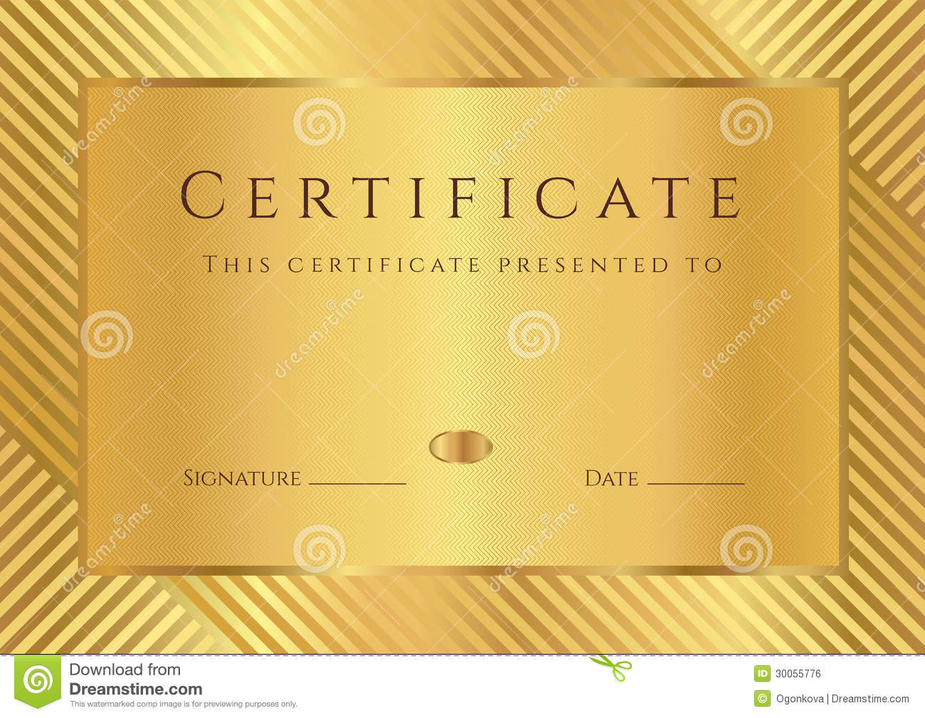 Certificate of completion (template) with stripy pattern and border ...