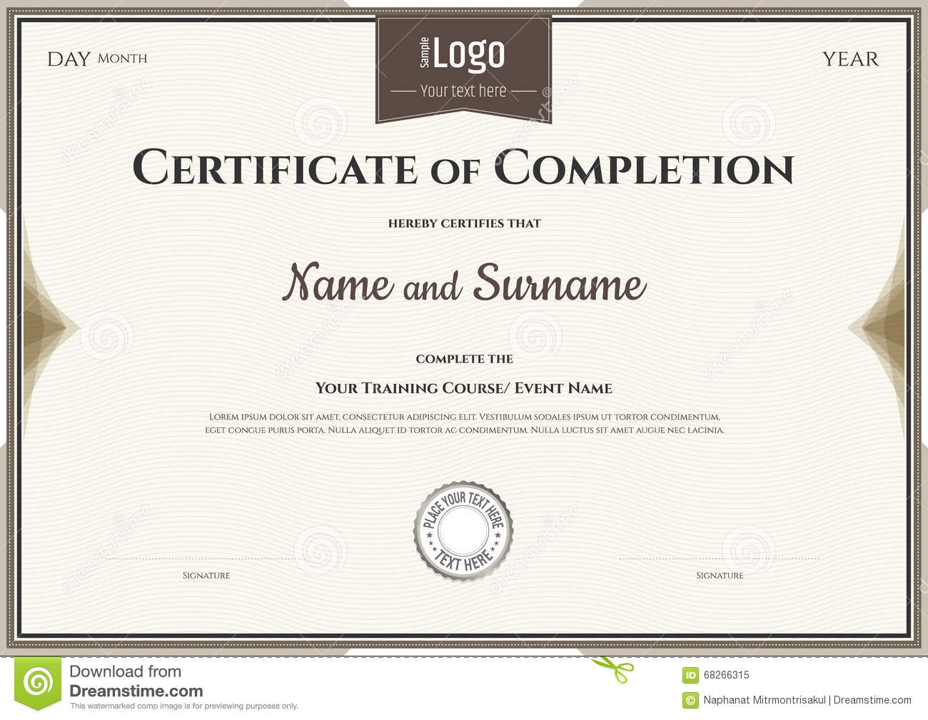 Certificate Of Completion Template In Vector Vector Image – Template Certificate of Completion