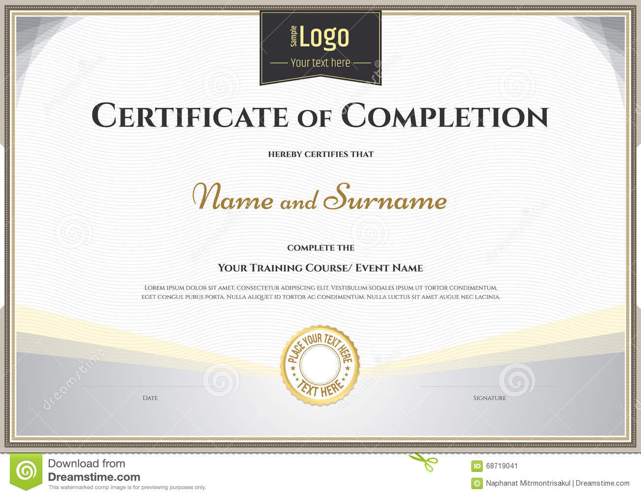 Certificate Of Completion Template In Vector For Achievement Gra – Template Certificate of Completion