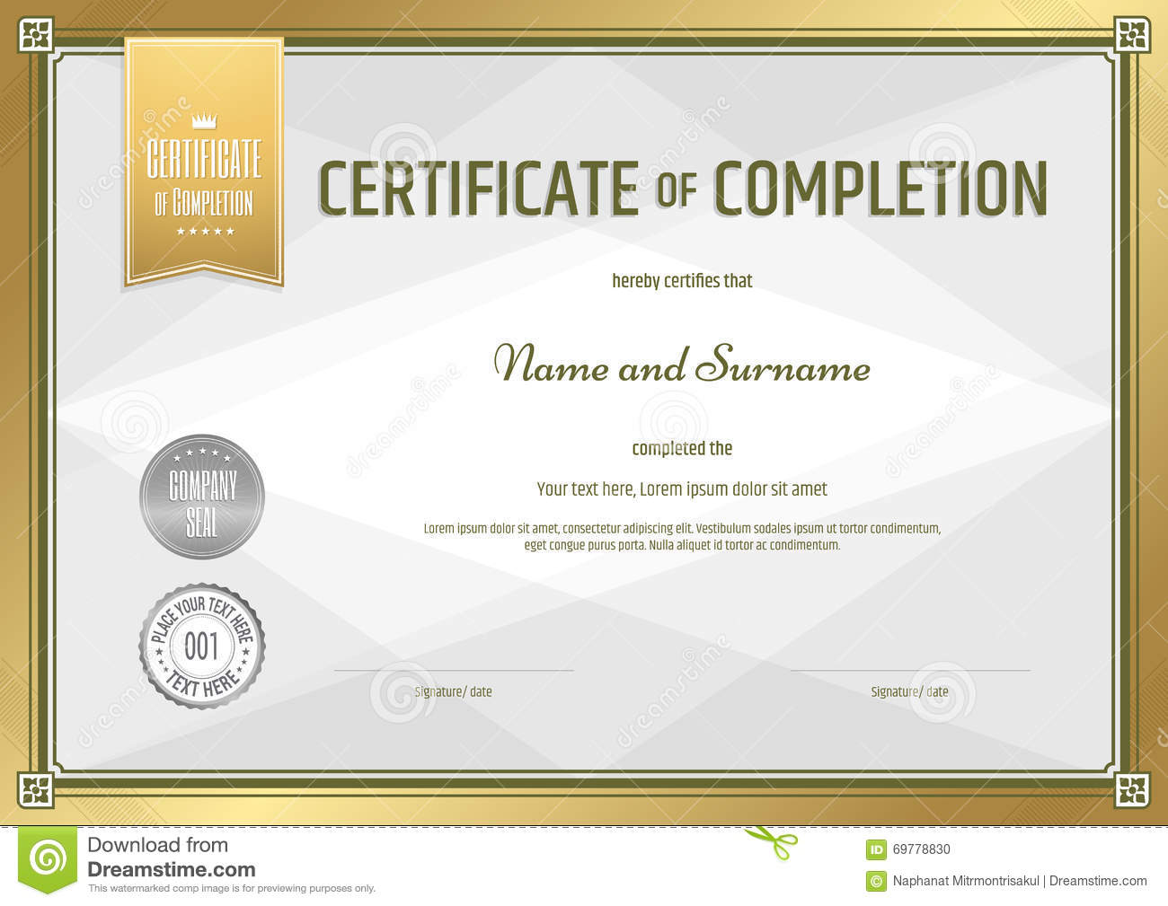 certificate of completion template cartoon vector