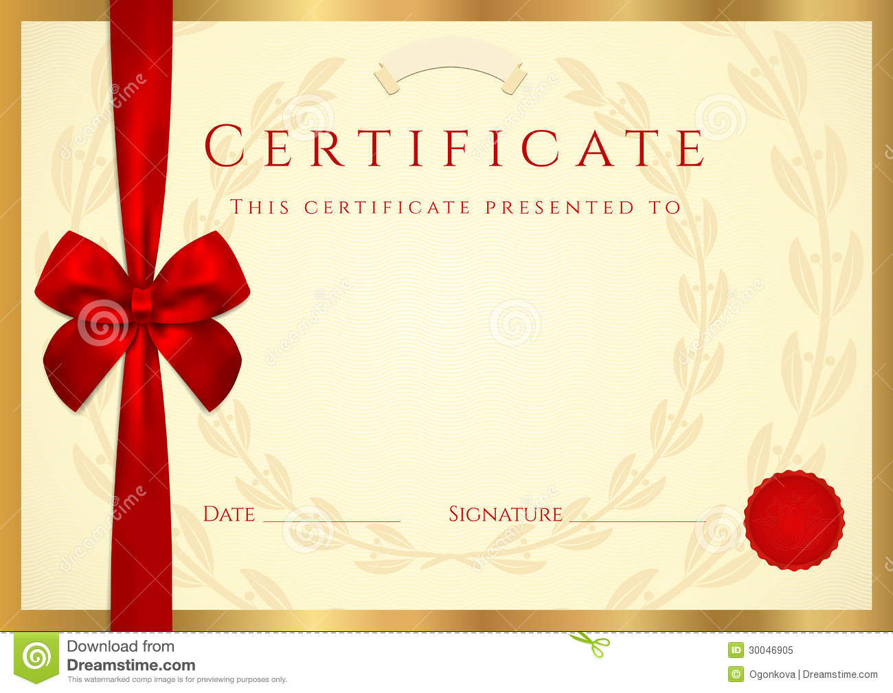 Certificate diploma Template With Red Bow Royalty Free – Certificate Layout