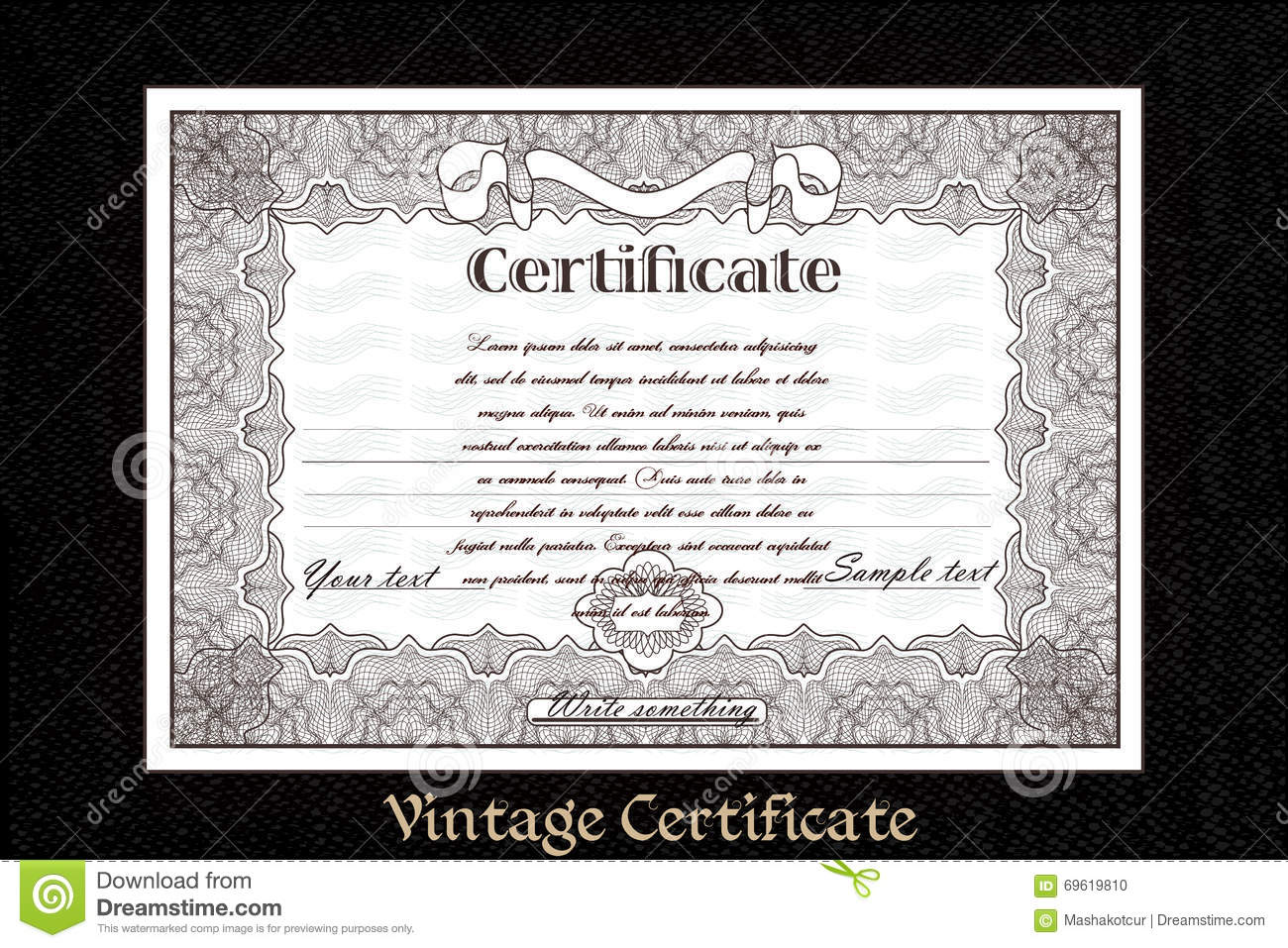 Certificate Or Coupon For Document Design Stock Vector Illustration Of Business Blank 69619810