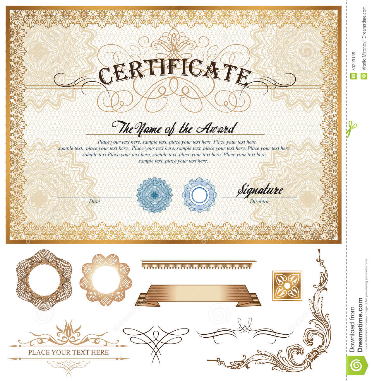 Certificate Or Coupon Template With Vintage Border Stock ...