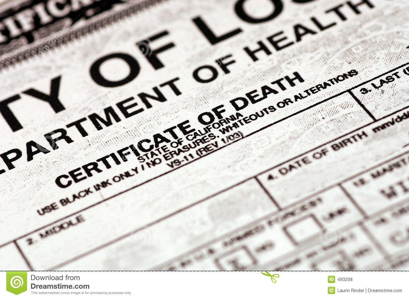Certificate Of Death Stock Photo Image Of Dying Mourn 493208