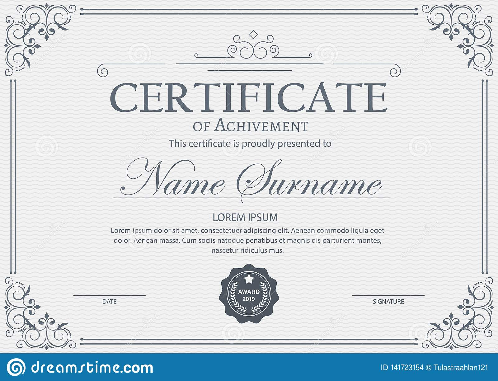 formal gift certificate template  retro design  with