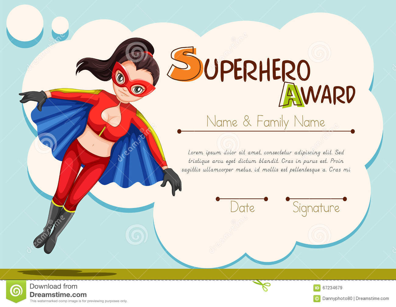Certificate Design With Superhero Background Stock Illustration