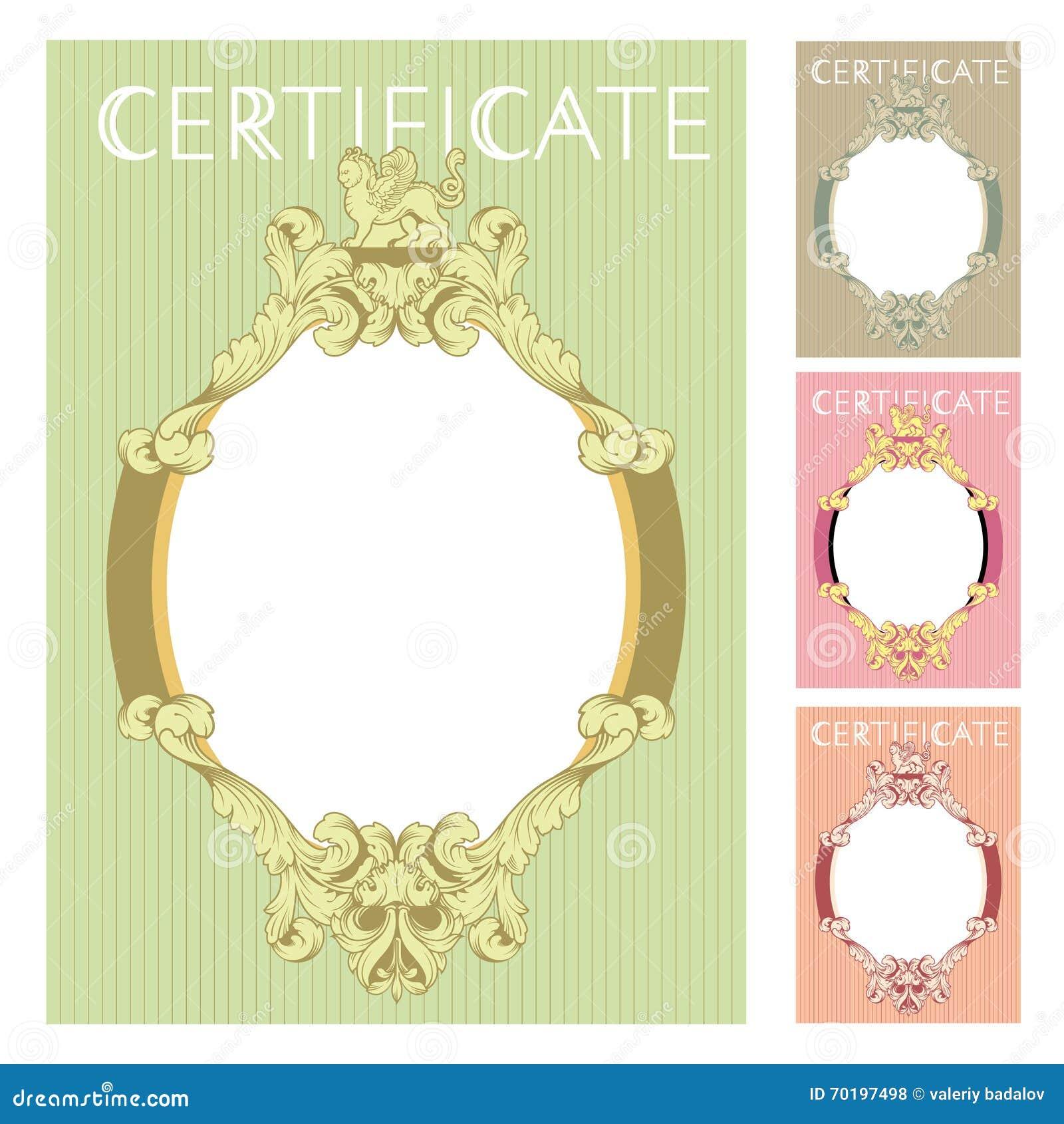 Certificate design template in baroque style