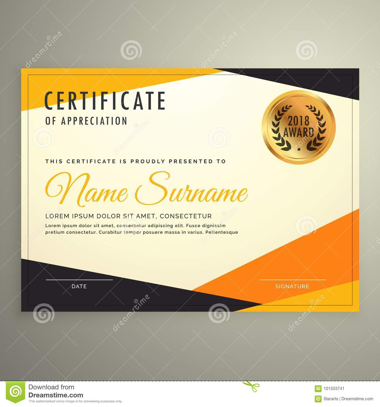 Certificate Design Template With Clean Modern Orange And Black S Within Award Certificate Design Template