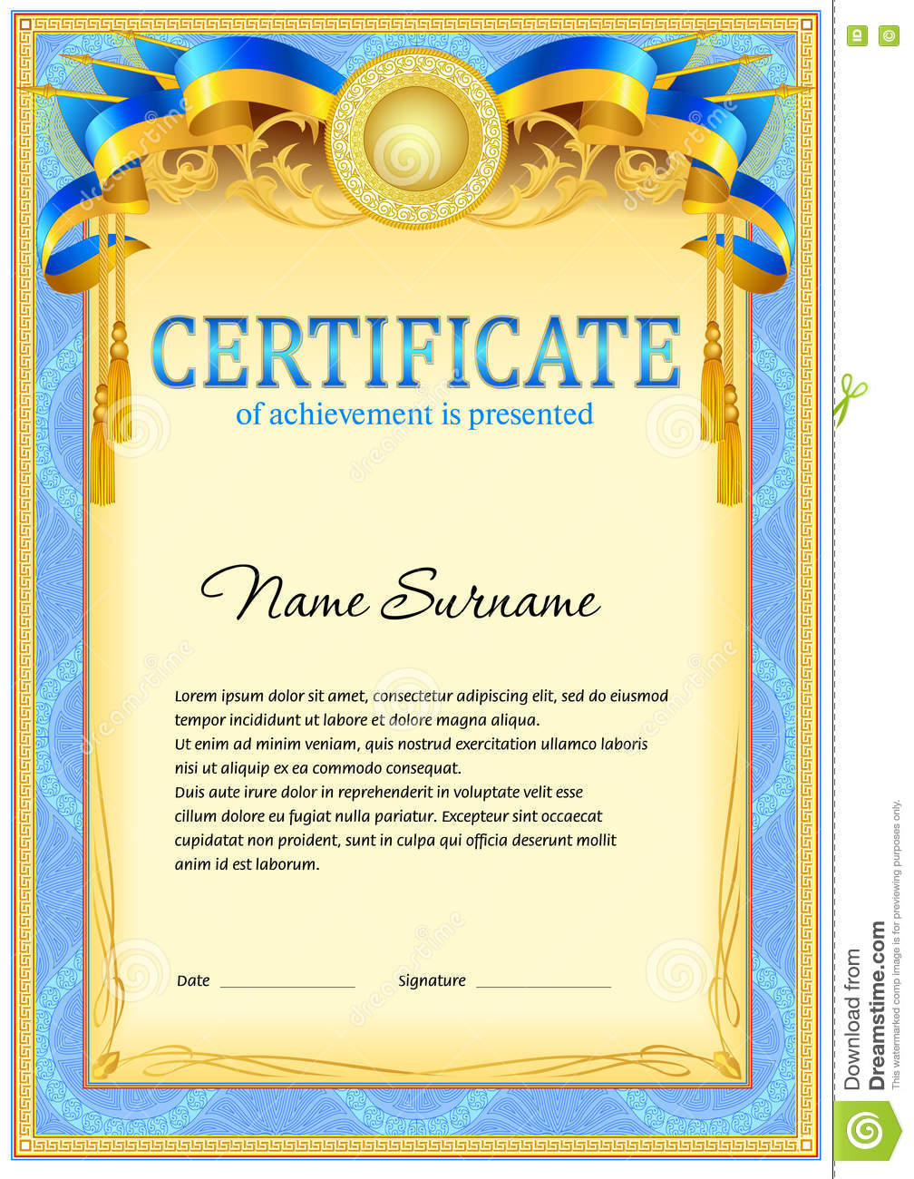 Certificate design template stock vector image 74656669 for High school diploma certificate fancy design templates